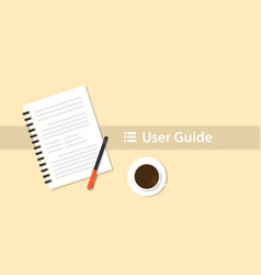 a user guide manual book on top of table desk vector image