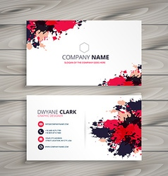 Abstract grunge ink splash business card vector