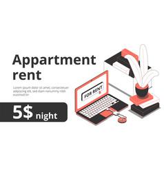 Apartment rent isometric banner vector