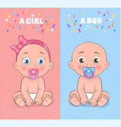 Baby boy and baby girl set vector