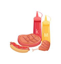 Bbq beef meat beefsteak icon vector