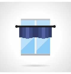Blue window with pelmet flat color icon vector image