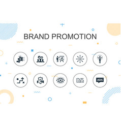 Brand promotion trendy infographic template thin vector
