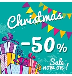 Bright Christmas sale banner with boxes of gifts vector
