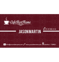 Cafe bar business card red vector