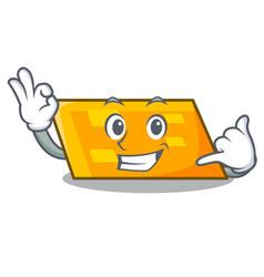 call me parallelogram mascot cartoon style vector image