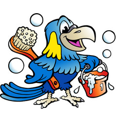 cartoon of an happy parrot cleaner vector image