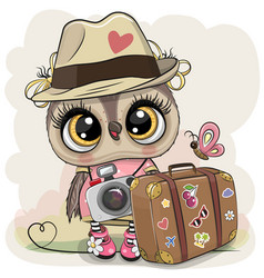 cartoon owl in a hat with luggage vector image