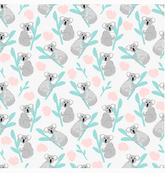 Childish koala animal seamless pattern background vector