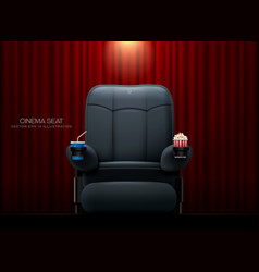 cinema seattheater seat on curtain with spotlight vector image