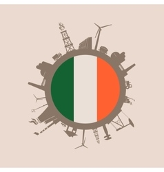 Circle with industrial silhouettes Ireland flag vector