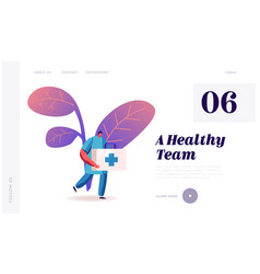clinic hospital staff at work medicine website vector image