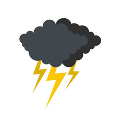 Cloud thunder flash icon flat style vector