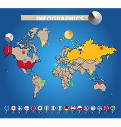 Color earth map with flags of different countries vector image