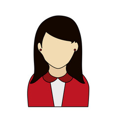 colorful graphic half body faceless woman with vector image