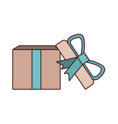 colorful opened gift box with decorative ribbon vector image