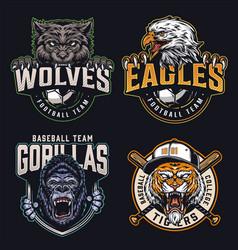 Colorful sports teams logos collection vector