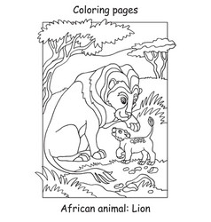 coloring lion vector image