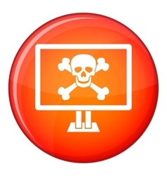 Computer monitor with a skull and bones icon vector