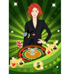 Confident lucky girl spins roulette vector