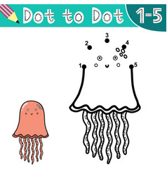 connect digits and draw a cute jellyfish vector image