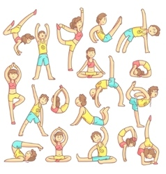 Couple Doing Yoga Poses vector