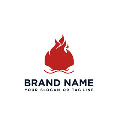 Creative fire design logo and hand vector