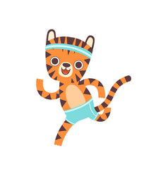 cute little tiger athlete running adorable wild vector image
