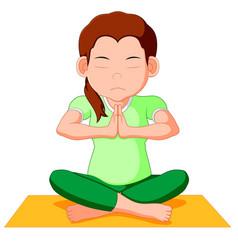 cute pregnant woman character doing yoga vector image