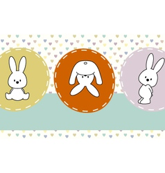 Cute rabbits greeting card vector