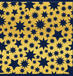 dark blue stars on a golden background vector image