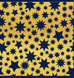 dark blue stars on a golden background vector image
