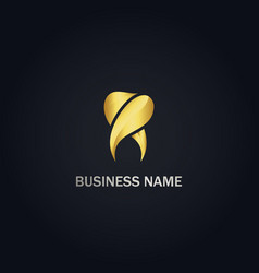 Dental tooth gold logo vector