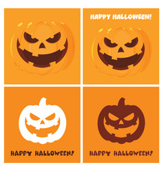 evil halloween pumpkin collection with background vector image