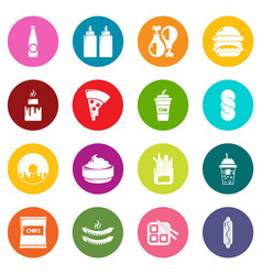fast food icons set colorful circles vector image