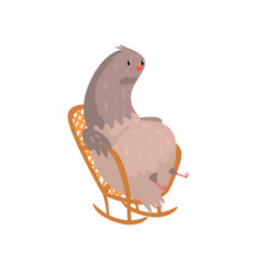 Fat dove sitting in rocking chair vector