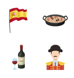 flag with the coat of arms of spain a national vector image