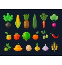 fresh fruits and vegetables set colored icons vector image