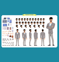 Front side back view animated character vector