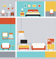 Furniture Flat Design Frame and Background vector