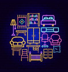 furniture neon concept vector image
