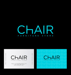 furniture store logo chair letter h business card vector image