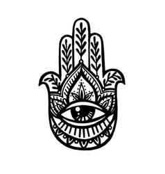 hamsa hand with ornament boho buddha s hand hand vector image