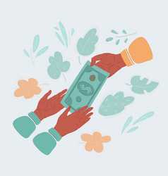 hands giving money to vector image