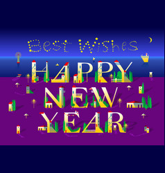 Happy new year night beach best wishes vector