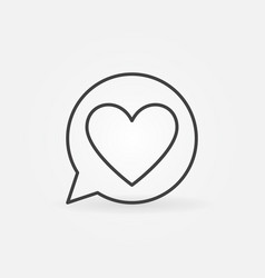 heart in round speech bubble outline icon vector image