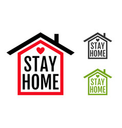 icon house with text stay home vector image