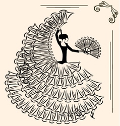 image of flamenco with fan vector image