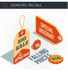 isometric sale labels vector image