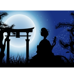 Japanese night Geisha with Shamisen silhouette vector image